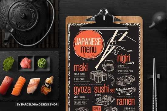 Diseño de Menús de Papel para Restaurante Asiático o Japones