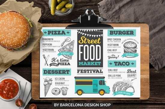 Menús de Papel Couche Plastificado Carta para Food Trucks de Snacks