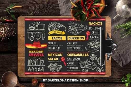 Menús de Papel Couche Plastificado Carta para Restaurante de Tacos