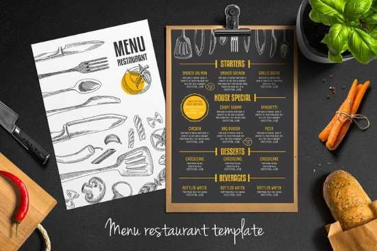 Diseño e Impresión de Menús de Papel a dos Colores Carta