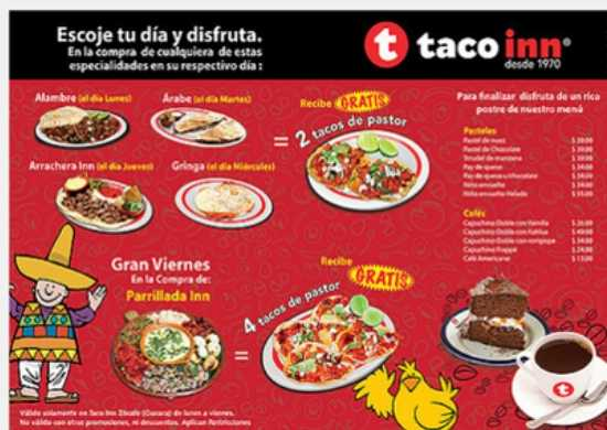 Manteleta Individual con Publicidad Impresa a Color en Papel Couche Tipo Taco Inn